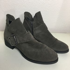 Franco Sarto brown leather booties casual buckle